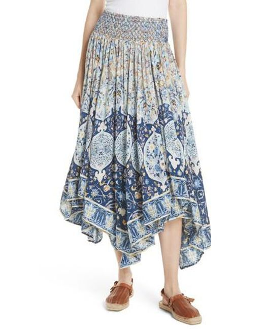 Free People - Blue Roaming Wild Midi Skirt - Lyst