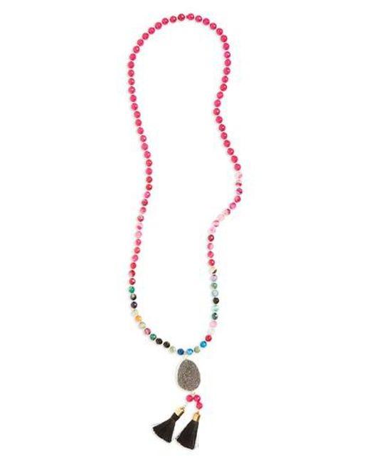 Panacea | Metallic Drusy Tassel Pendant Necklace | Lyst