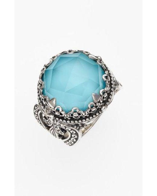 Konstantino | Metallic 'aegean' Round Stone Ring | Lyst