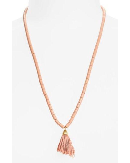 Madewell | Metallic Adjustable Bead Tassel Necklace | Lyst