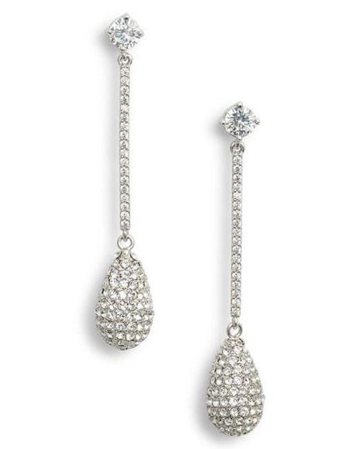 Nina - Metallic Swarovski Crystal Teardrop Earrings - Lyst