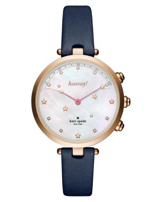 Kate Spade - Metallic Holland Hybrid Leather Strap Watch - Lyst