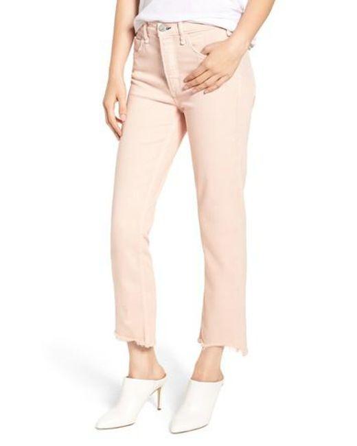Mcguire - Pink Valletta High Waist Crop Straight Leg Jeans - Lyst