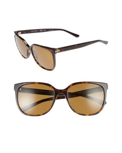Tory Burch | Brown 57mm Polarized Sunglasses - Dark Tortoise | Lyst
