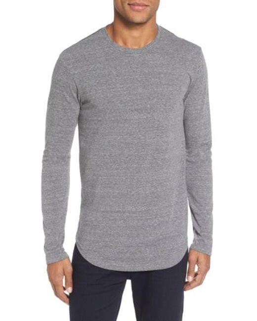 Goodlife - Gray Triblend Scallop Long Sleeve Crewneck T-shirt for Men - Lyst