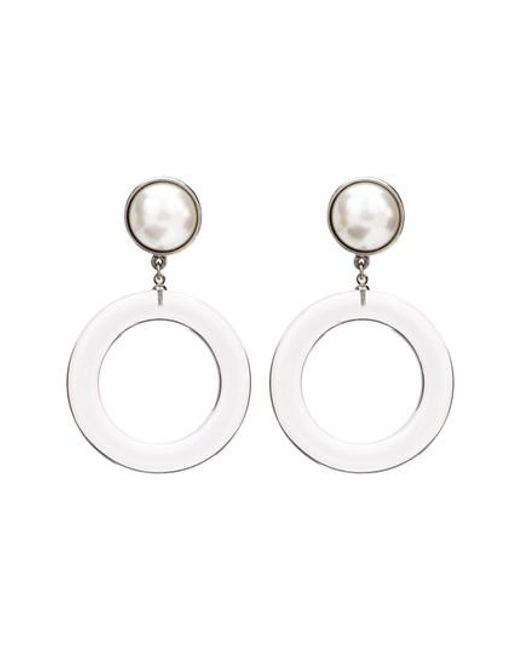 Ben-Amun - Metallic Large Imitation Pearl Clip Earrings - Lyst
