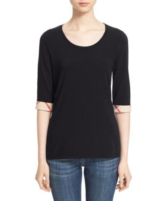 Burberry - Black Check Trim Tee - Lyst