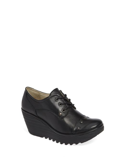 Fly London - Black Yoti Lace-up Wedge - Lyst