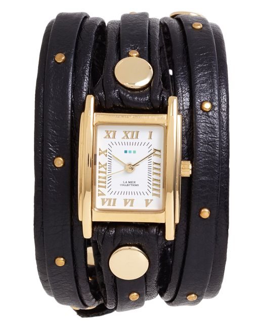 La Mer Collections - Metallic Studded Leather Wrap Watch - Lyst