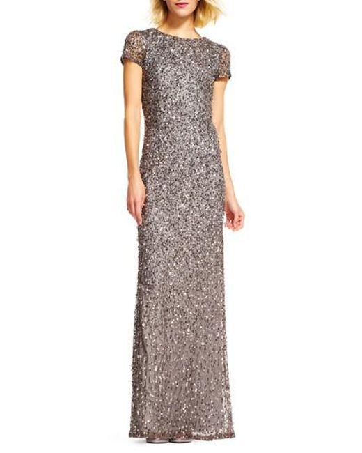Adrianna Papell - Gray Short Sleeve Sequin Mesh Gown - Lyst