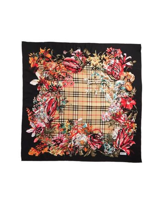 Burberry - Black Floral Scribble Square Silk Scarf - Lyst