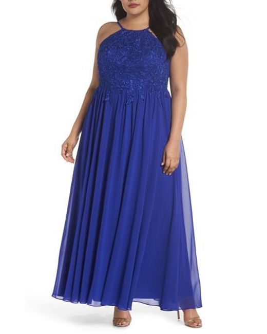 Decode 1.8 - Blue Embroidered Bodice Halter Top Maxi Dress - Lyst