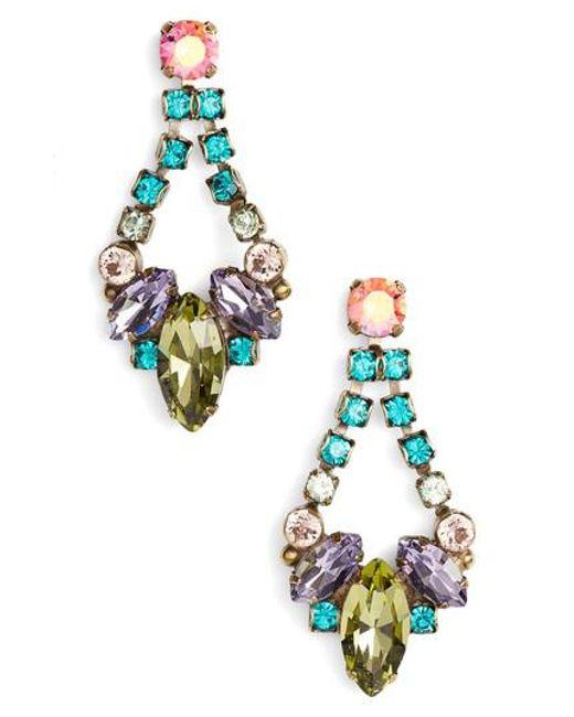Sorrelli - Green Noveau Navette Crystal Drop Earrings - Lyst