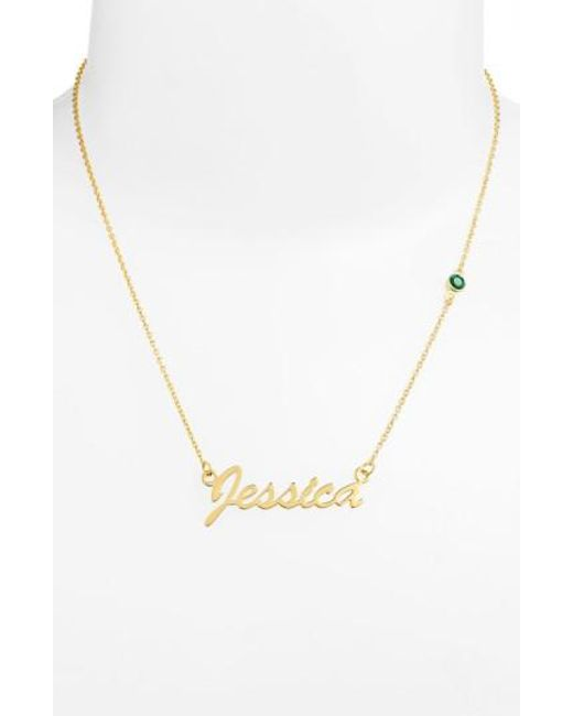 Argento Vivo - Green Birthstone & Personalized Nameplate Pendant Necklace - May Emerald (nordstrom Online Exclusive) - Lyst