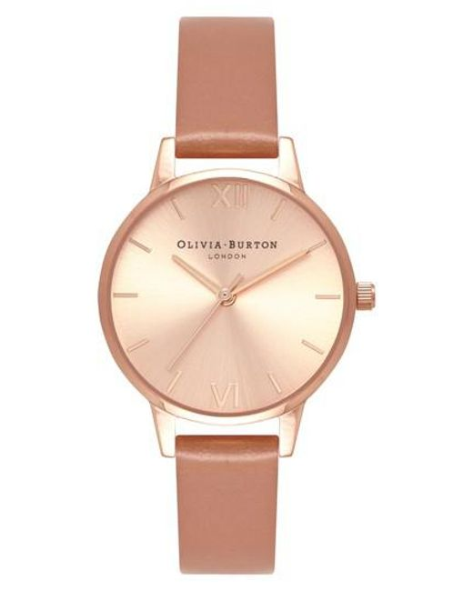 Olivia Burton - Pink Sunray Leather Strap Watch - Lyst