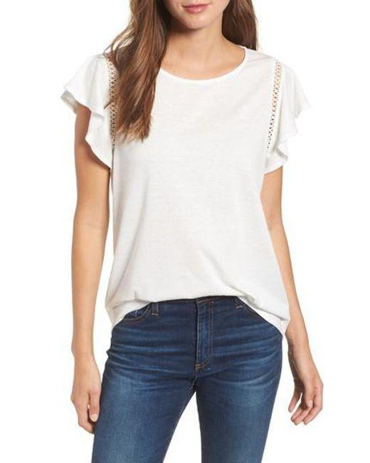 Caslon - White Caslon Flutter Sleeve Crochet Detail Top - Lyst
