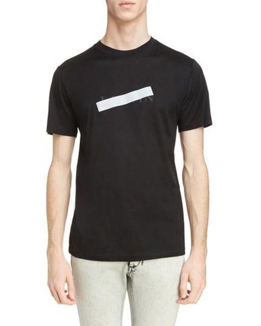 Lanvin - Black Reflective Tape Logo T-shirt for Men - Lyst