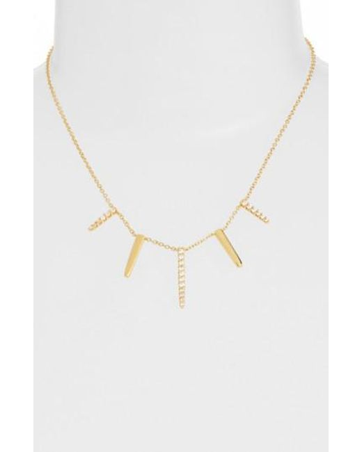 CZ by Kenneth Jay Lane | Metallic Pave Spike Cubic Zirconia Frontal Necklace | Lyst