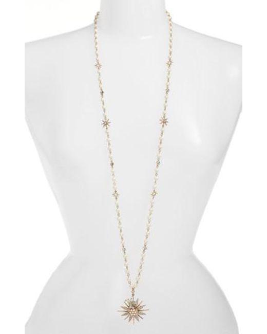 Jenny Packham   Metallic Long Star Drop Beaded Necklace   Lyst
