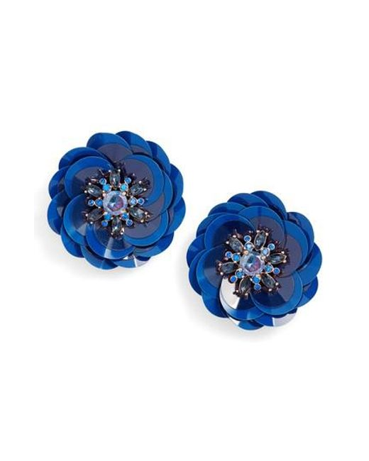 Kate Spade | Blue Snowy Nights Sequin Statement Earrings | Lyst