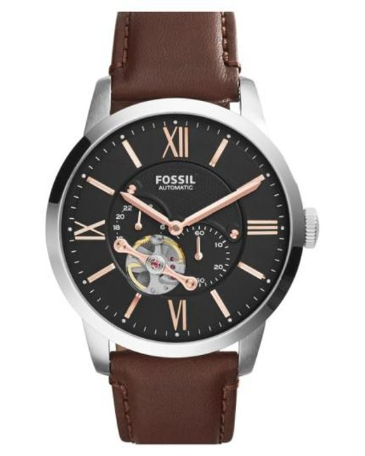 Fossil - Brown 'townsman' Automatic Leather Strap Watch for Men - Lyst