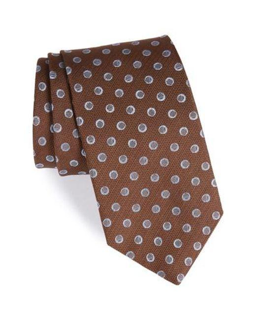 David Donahue | Brown Dot Silk Tie for Men | Lyst