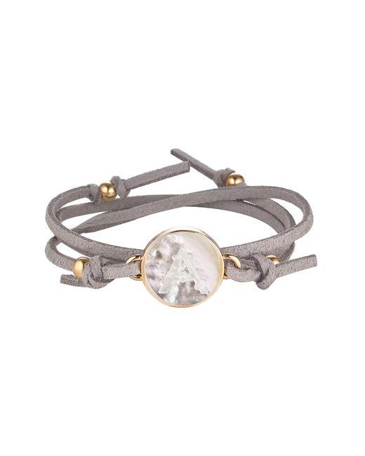 Asha - Gray Initial Suede Wrap Bracelet - Lyst