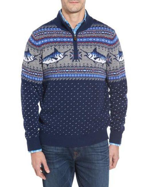 Vineyard vines Marlin Fair Isle Quarter Zip Sweater in Blue for ...