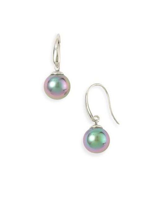 Majorica | Metallic 10mm Pearl Drop Earrings | Lyst