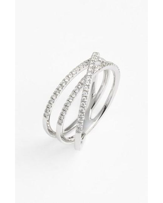 Bony Levy   White Crossover Three-row Diamond Ring (nordstrom Exclusive)   Lyst