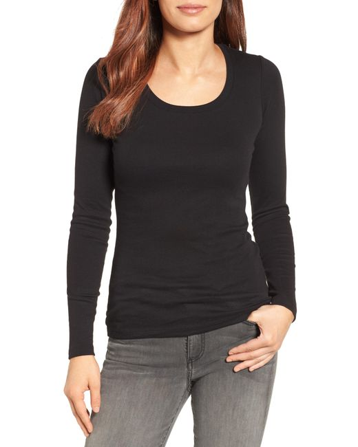 Caslon - Black Caslon Long Sleeve Scoop Neck Cotton Tee - Lyst