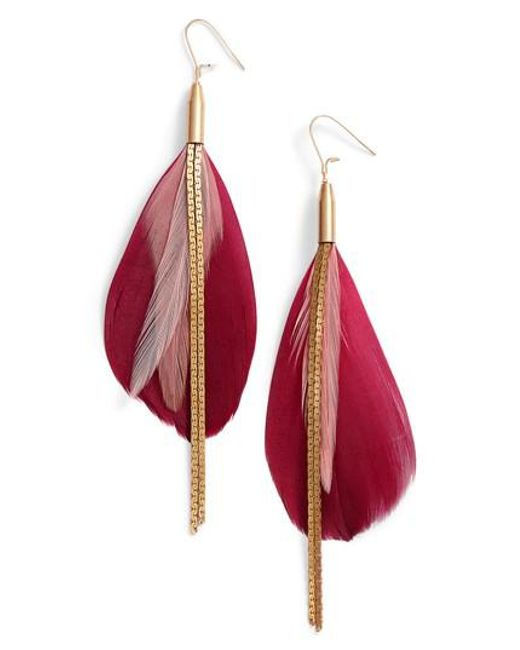 Serefina   Metallic Vintage Feather Drop Earrings   Lyst