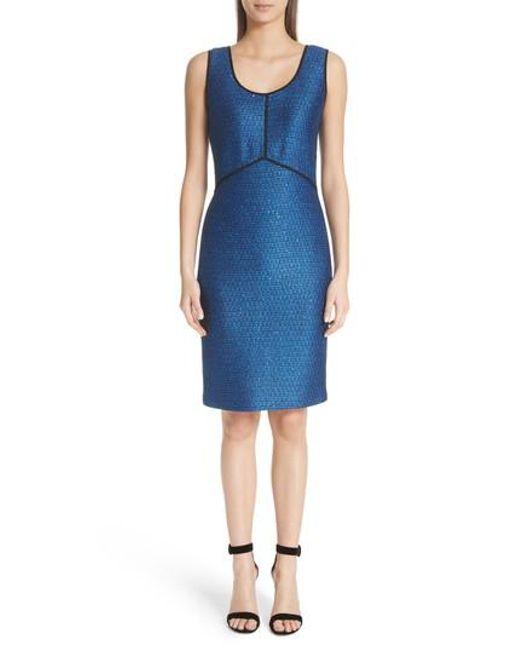 St. John - Blue Luster Sequin Knit Dress - Lyst