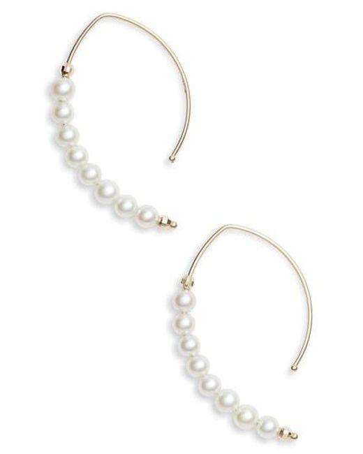 Mizuki - Metallic Pearl Marquis Hoop Earrings - Lyst