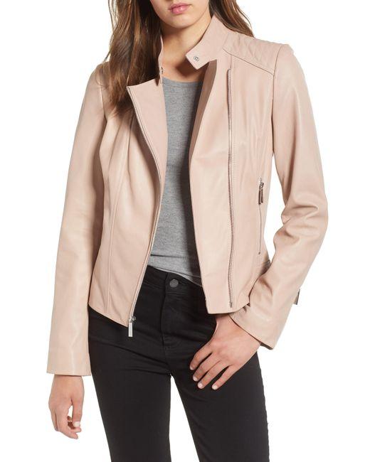 MICHAEL Michael Kors - Natural Asymmetrical Zip Leather Moto Jacket - Lyst