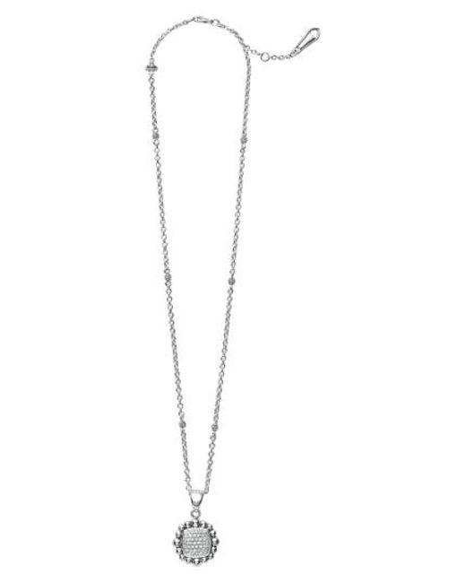Lagos - Metallic Caviar Spark Square Diamond Pendant Necklace - Lyst