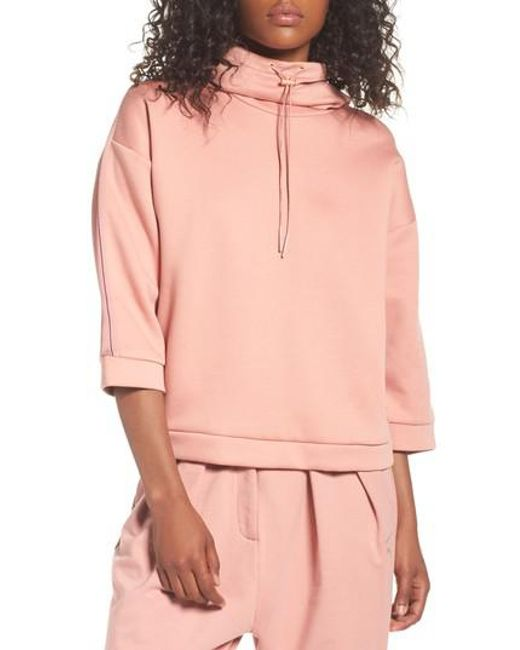 PUMA | Pink Funnel Neck Pullover | Lyst
