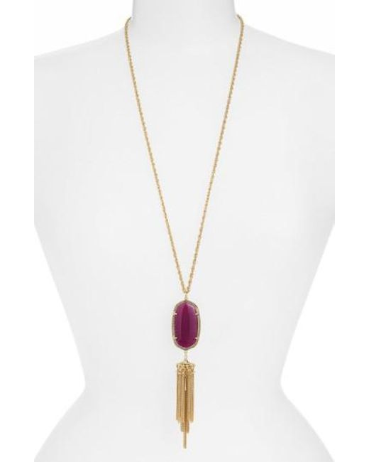 Kendra Scott | Green Rayne Stone Tassel Pendant Necklace | Lyst