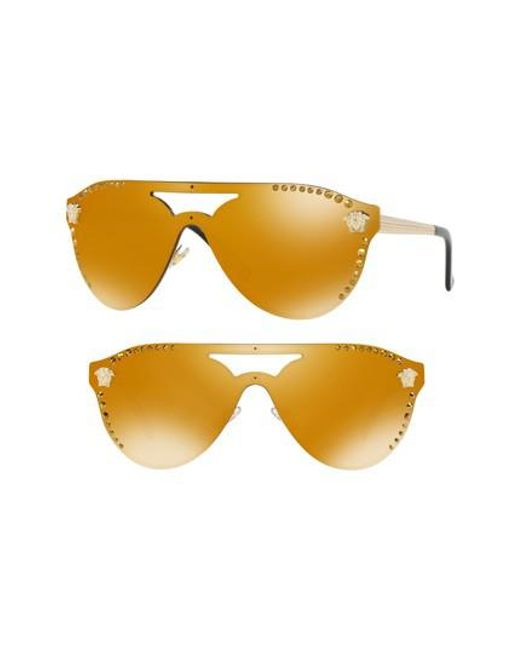 314a30351b7 Versace - Metallic Medusa 60mm Crystal Shield Sunglasses - Pale Gold Mirror  - Lyst