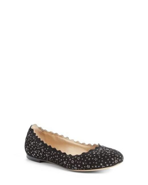 Chloé | Black Lauren Scalloped Ballerina Flat | Lyst