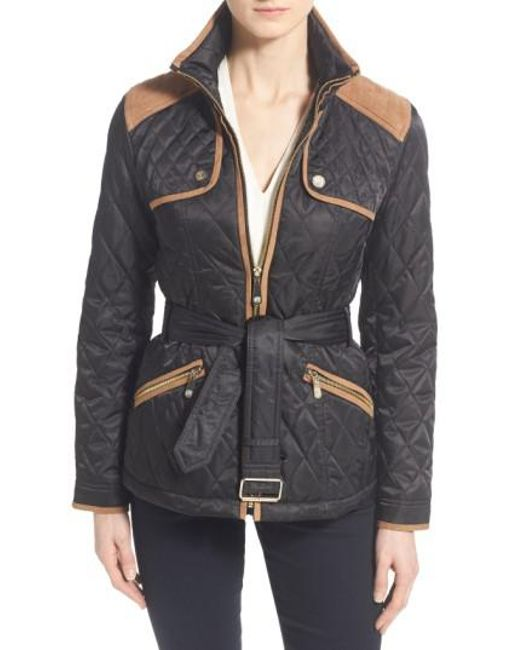 Vince Camuto | Black Belted Quilted Jacket | Lyst