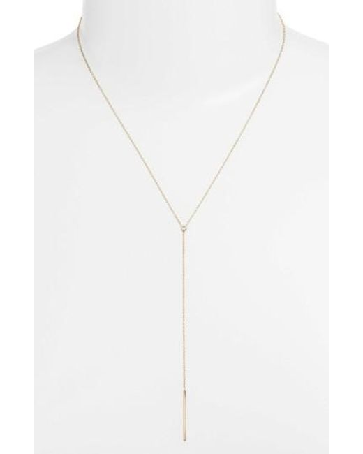 Zoe Chicco | Metallic Diamond Bezel Y-necklace | Lyst