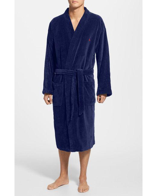 c6522157 ... store polo ralph lauren blue velour kimono robe for men lyst 3c419 28300
