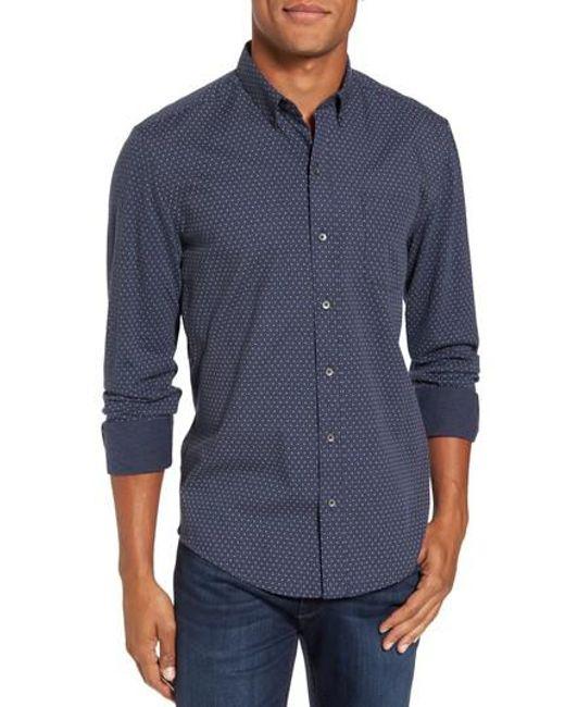 W.r.k. | Blue 'reworkd' Trim Fit Dot Print Mixed Media Sport Shirt for Men | Lyst