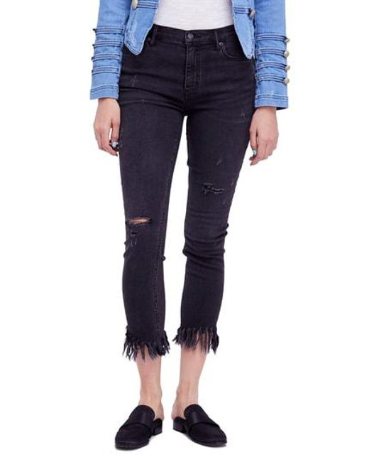 Free People - Black We The Free By Great Heights Frayed Skinny Jeans - Lyst
