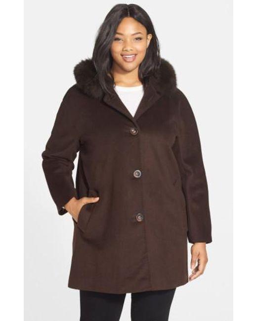 Ellen Tracy   Brown Kimono Sleeve Jacket With Genuine Fox Fur Trim   Lyst