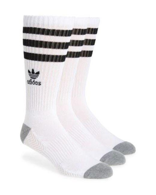 Lyst Adidas Originals 3 Pack Original Roller Crew Socks In White