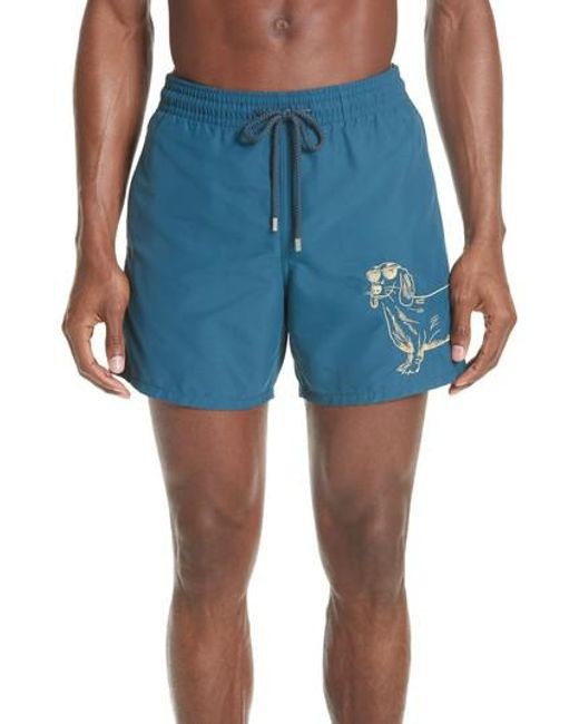 Vilebrequin - Blue Embroidered Sunny Dog Swim Trunks for Men - Lyst