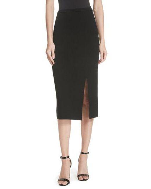 0db344e22 Diane von Furstenberg - Black Side Slit Stretch Knit Pencil Skirt - Lyst