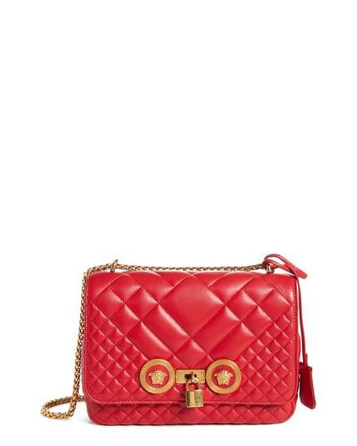 e313caeb5a Lyst - Versace Icon Medium Quilted Leather Shoulder Bag in Red